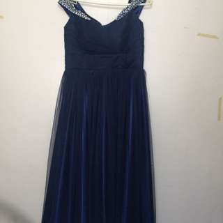 FOR RENT!Off shoulder Navy blue long gown!