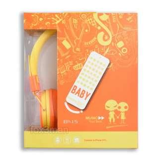 限時清貨 骷髏頭BB輕便耳機,聲靚有咪附電話免提功能 黃/橙色