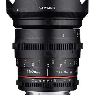 Samyang 20mm T1.9 Cine DS Lens for Sony E