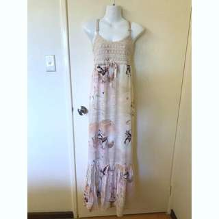BNWT Bardot maxi dress cotton crochet top size
