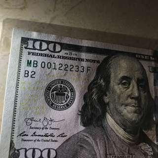全新100美金
