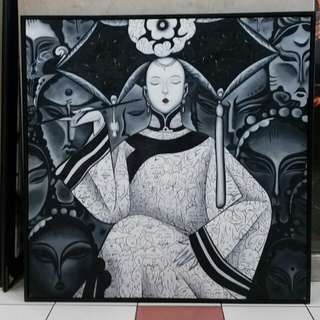 Modern Art Canvas Painting Oil with frame 103x103cm