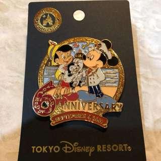 日本 迪士尼 徽章 TOKYO DISNEY SEA PIN 6週年
