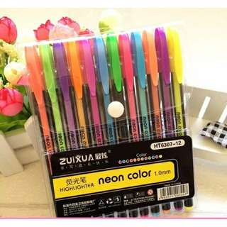 12  Colors Pastel / Metal / Highlighter Pens