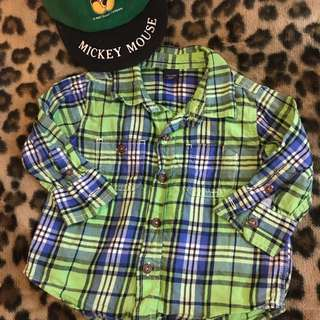 Gap Checkered Shirt/ Mickey Mouse cap