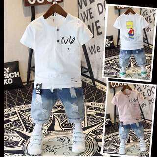 Children's clothing summer suit 2018 new children's jeans children's short sleeve two-piece casual