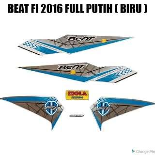 Striping Beat FI 2016 Full Putih ( Biru )