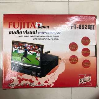 Car 7'' Screen/Radio DVD/CD/MP3/WMA/USB:SD Player with Aux input/TV Function; Audio Visual entertainment system; Brand: Fujita; include remote control, brackets; size: 7 inch wide x 2 inch tall x 8 inch deep; good condition
