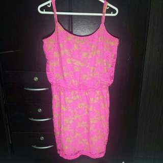 Paperdoll Neon Pink Lacey Dress