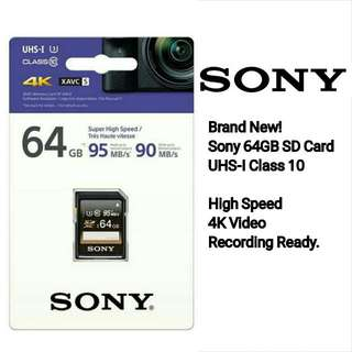 Brand New! Sony 64GB UHS SD Card.