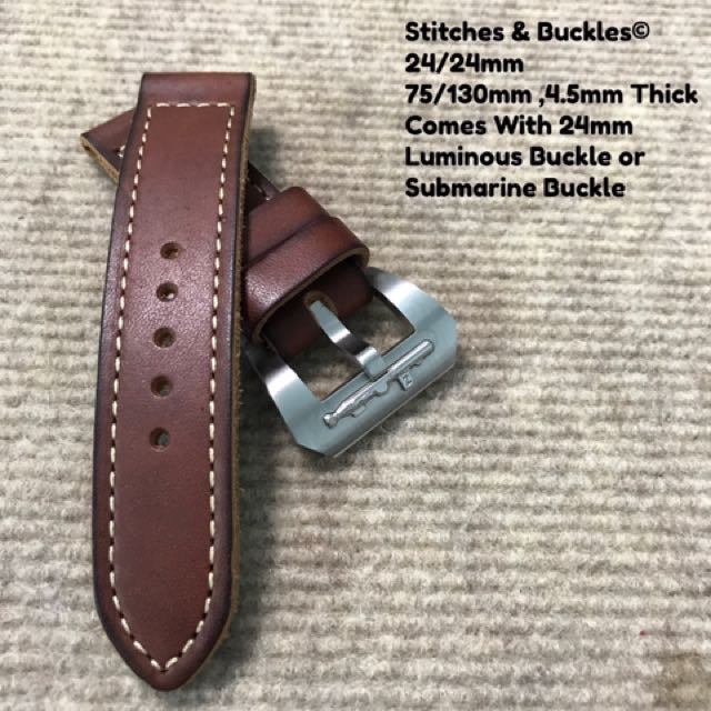 24/24mm Vintage Calf Leather Burgundy Strap with 24mm Luminous or Submarine  Buckle Combo