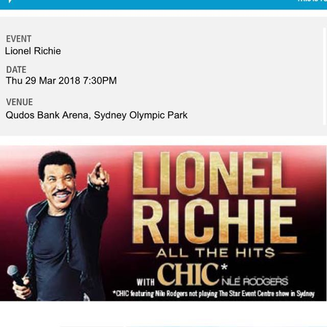 2 x Lionel Richie Concert Tickets