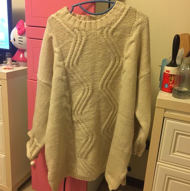 厚針織長版毛衣