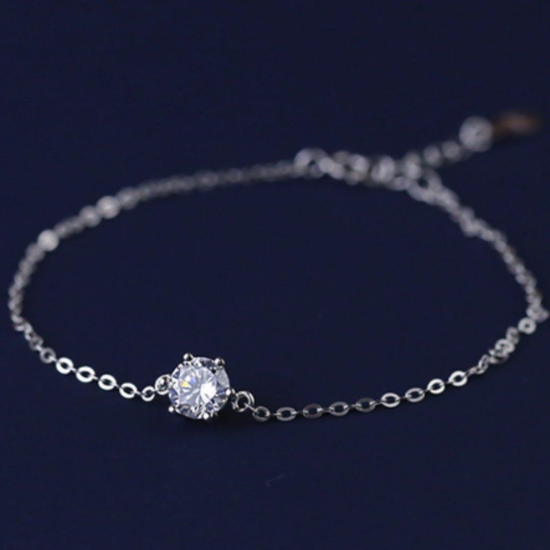 銀飾單鑽鋯石銀飾手鍊(附贈絨布袋、拭銀布、酒精棉片)。降價