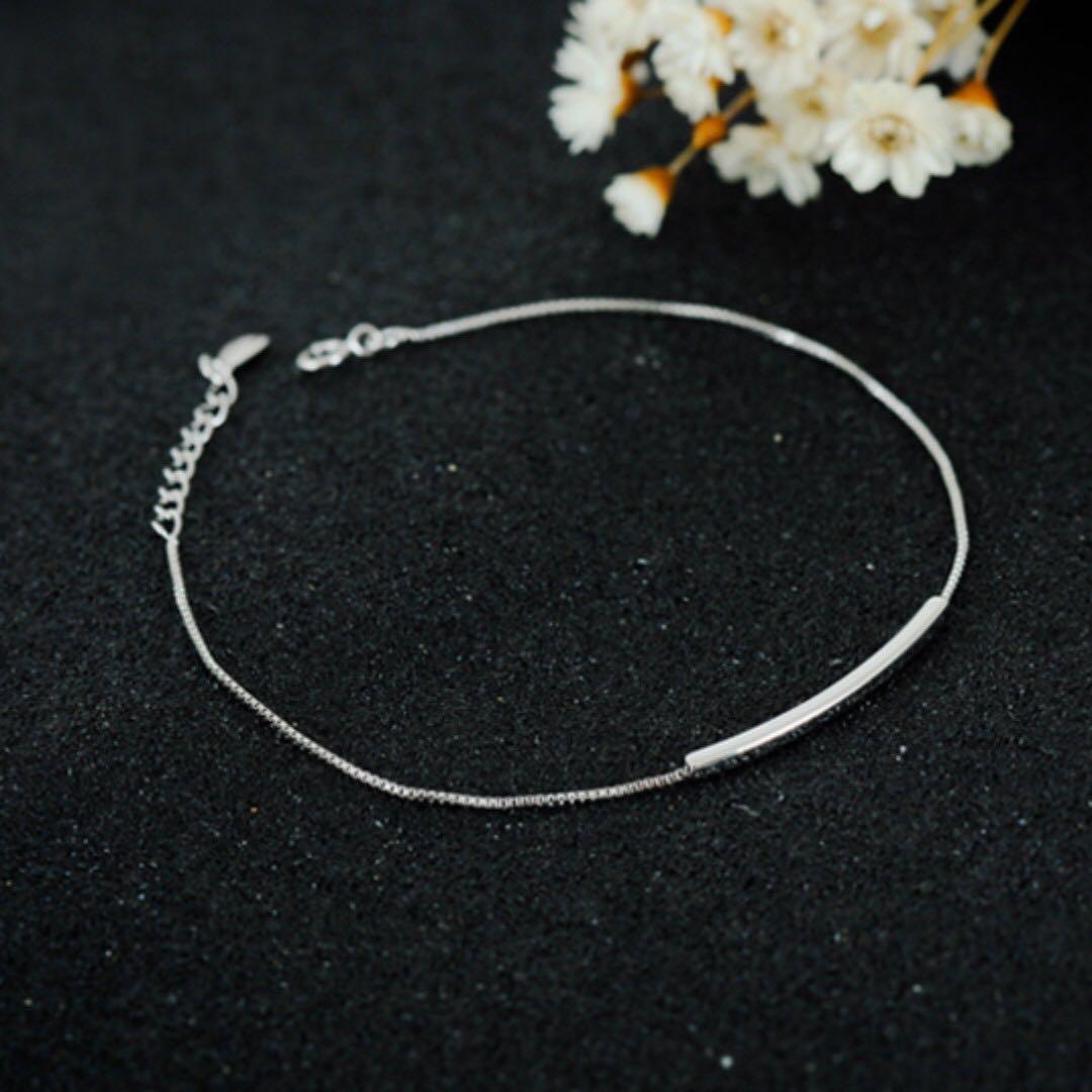 銀飾微笑曲線銀飾手鍊(附贈絨布袋、拭銀布、酒精棉片)