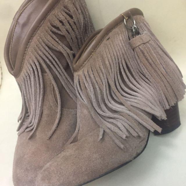 日貨麂皮流蘇短靴
