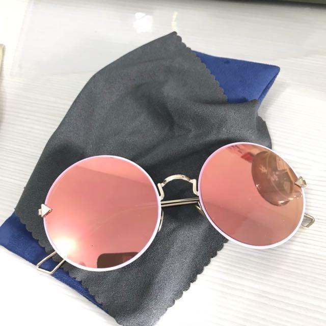 韓系粉色圓墨鏡