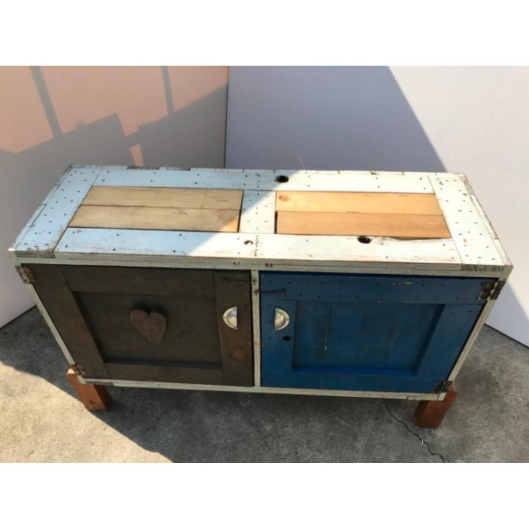 實木拚木刷漆撞色二層拉門收納櫃/置物櫃 電視櫃 鄉村風 矮櫃 收納櫃 櫥櫃 書櫃 電視櫃 A1266