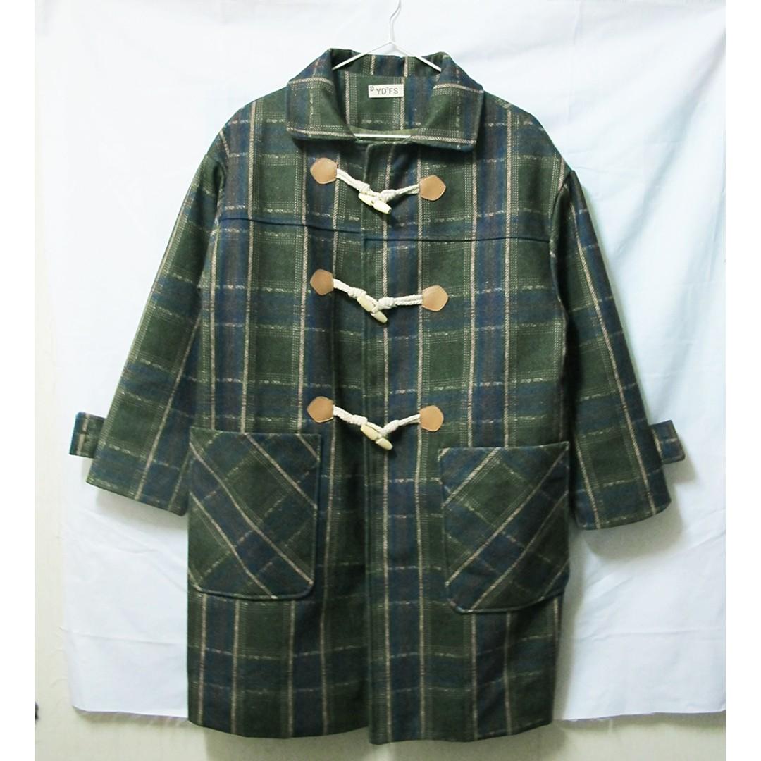 轉賣 kouzou 墨綠色 經典格紋牛角釦長版毛呢外套 近全新