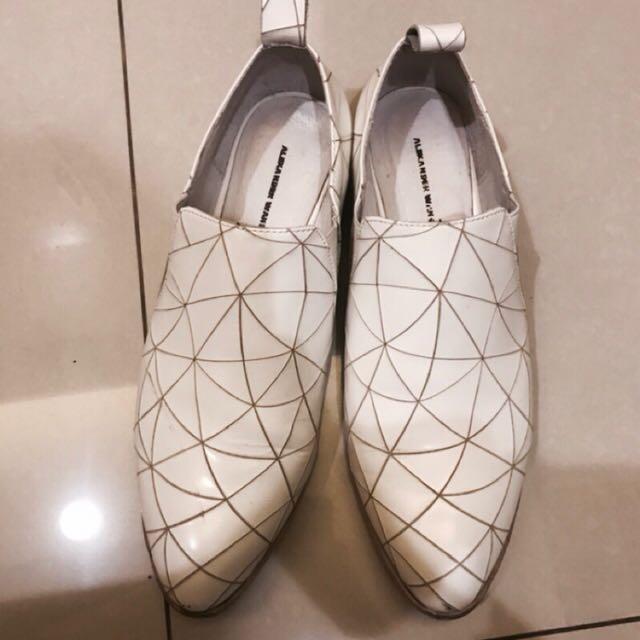 A fad同款切割真皮幾何紳士鞋