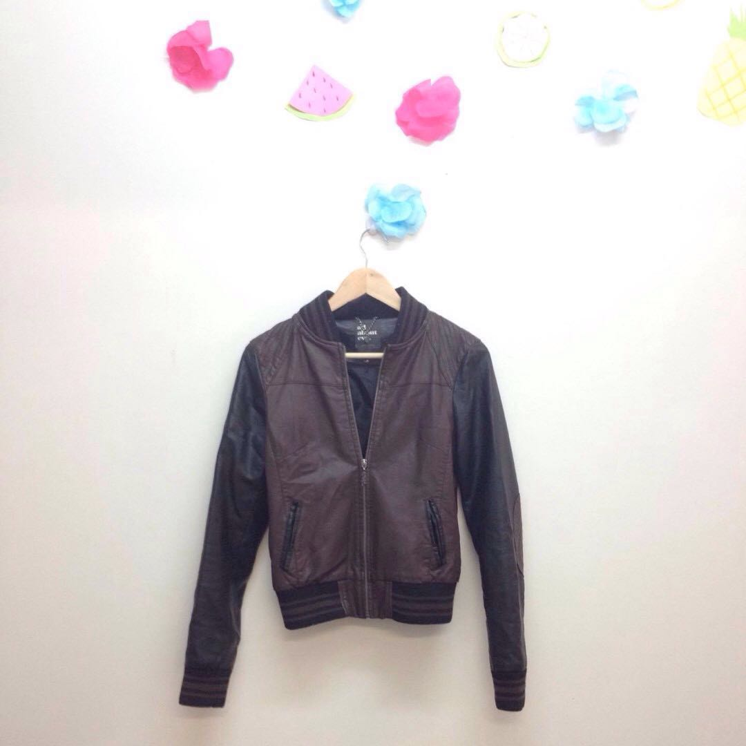 All about eve brown and black leather jacket