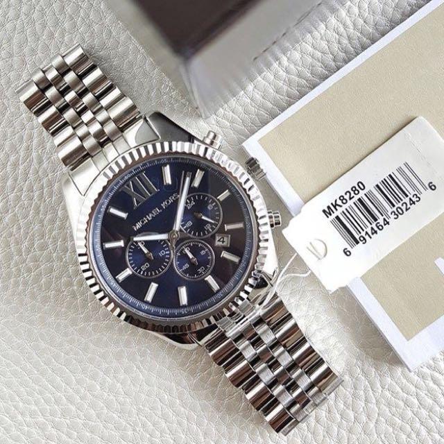 a93995faa32a Authentic MK Lexington Chronograph Silver Tone Navy Dial Men s ...