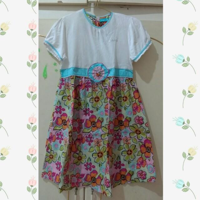 Dress biru anak bunga Versail Jeunes size XL