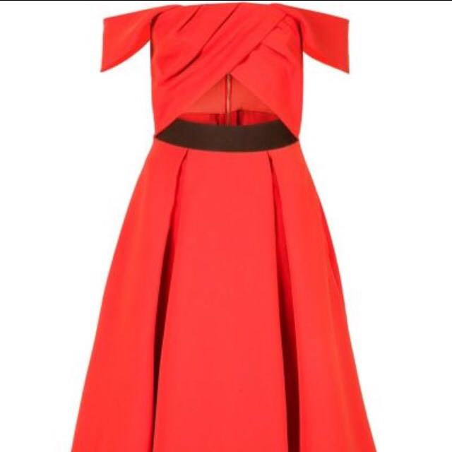 Ayelette Cut-out Double Crepe Dress in Red