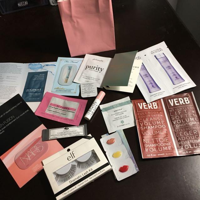 Bag of Sephora samples (BONUS EYELASHES)