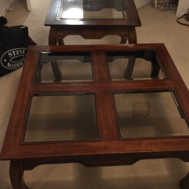 Beautiful solid coffee table and matching side table
