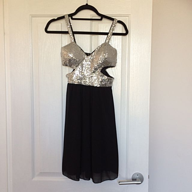 Black mini party dress with cut outs size xs