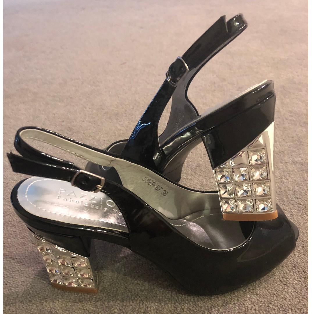 Black Patent Peeptoe Strapback, Diamante Block Heel, Size 36