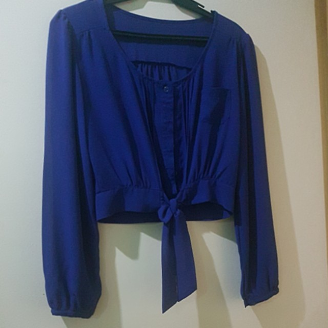 Blue Cropped Satin Top