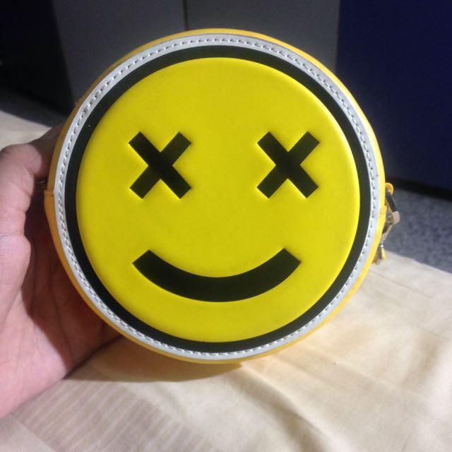 Charles & keith sling bag smiley smile leather tas selempang authentic ori original 100% yellow