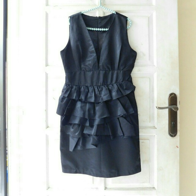 DRESS KOREAN BLACK SILKY