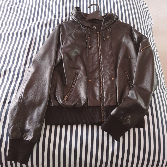 Faux leather jacket w/ hood