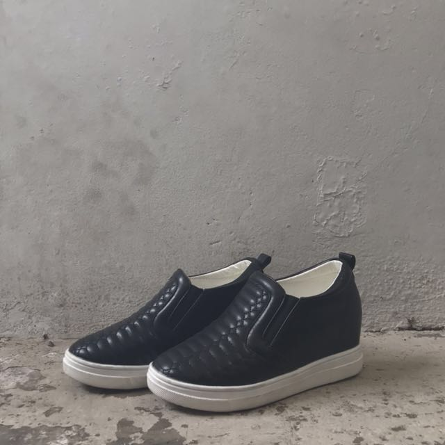 FREE ONGKIR Black Slip On Shoes Platform