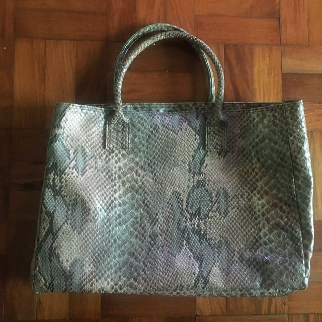 Genuine Leather Bag with Exotic Snake skin Print