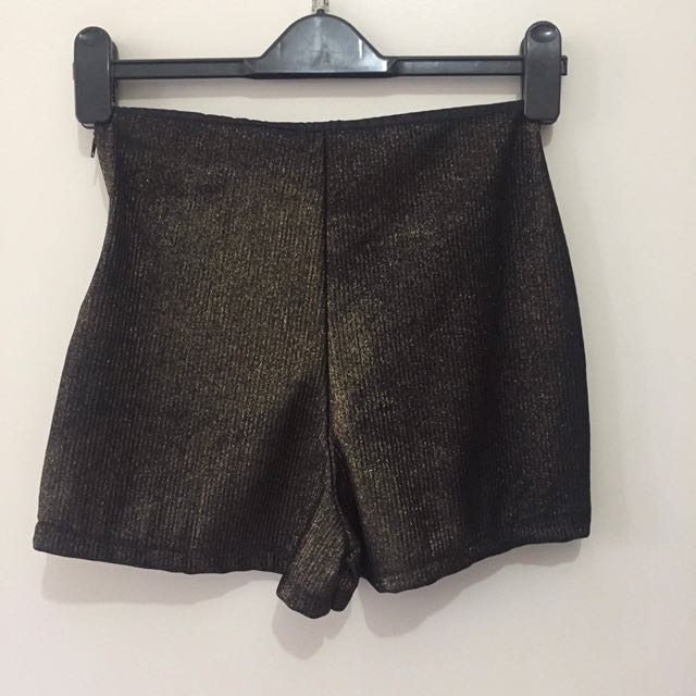 Glitter Gold And Black Shorts