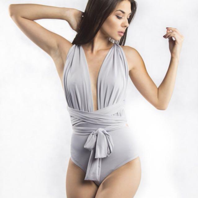 Grey bodysuit multiway wrap