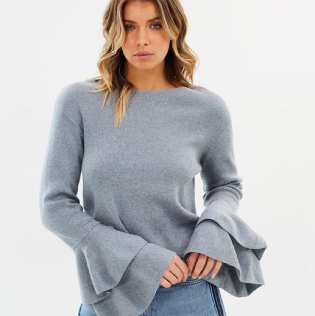 Grey frill sleeve jumper