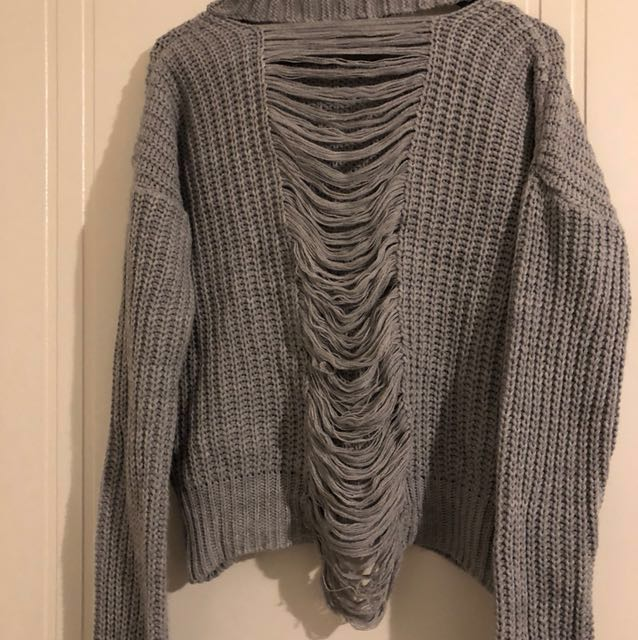 Grey Knit Top with Back Detail