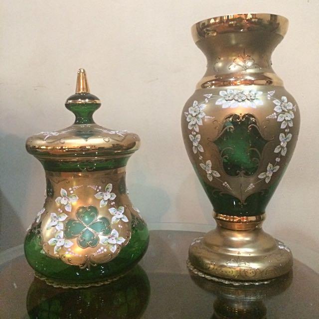 Guci Kristal Bohemia Hijau Emerald