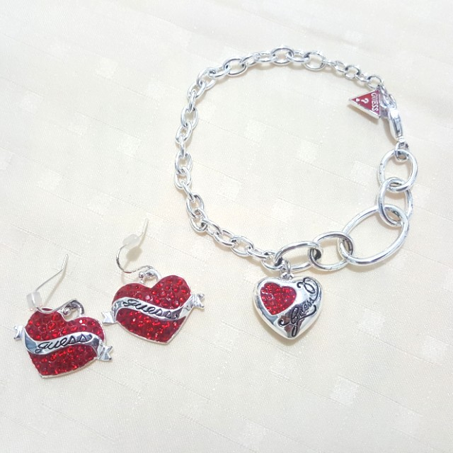 GUESS Silver Plated and Swarovski Bracelet and Earrings Set
