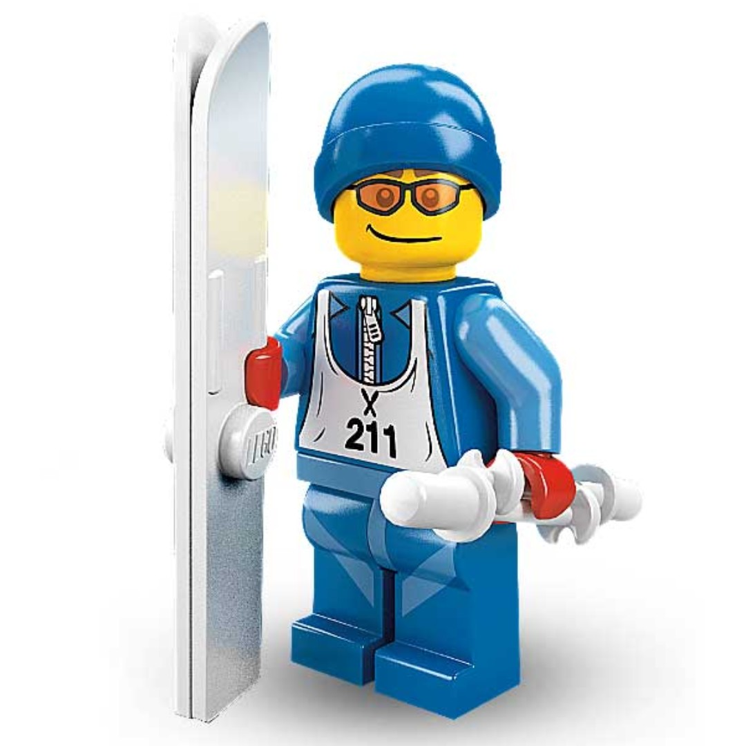 New Genuine LEGO Skier Minifig with Two Skis and Two Poles Series 2 8684
