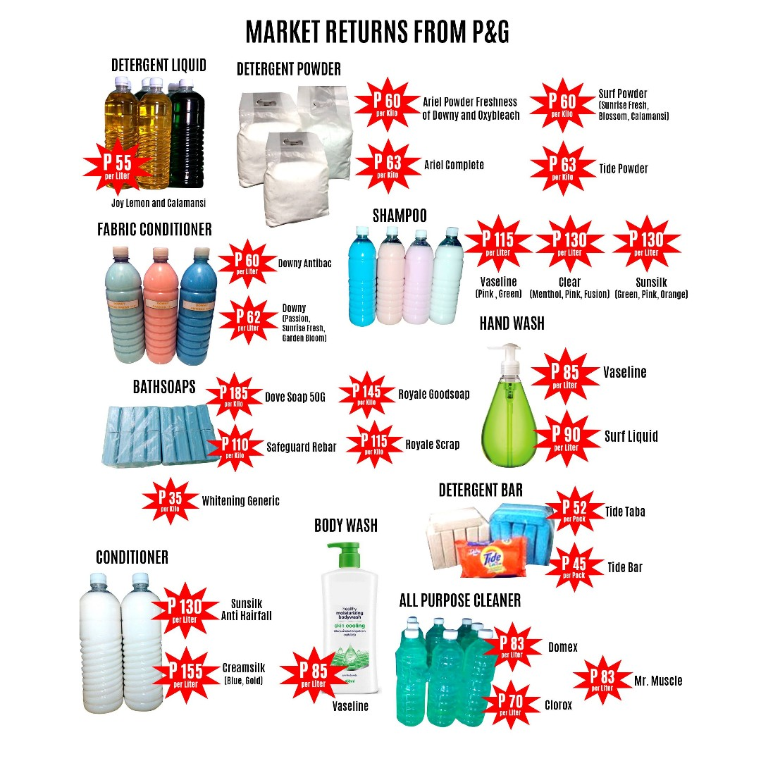 Lowest Price branded Detergent powder, dishwashing, shampoo and conditoner and others!