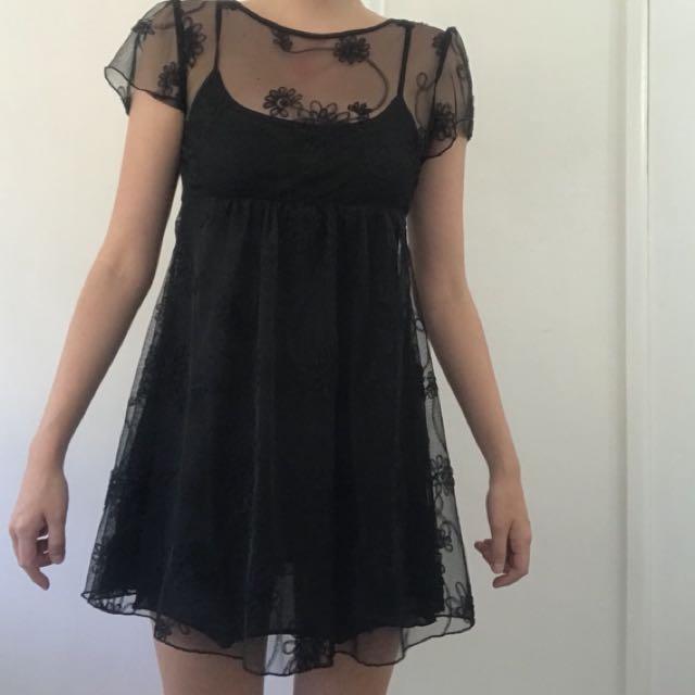 Mesh/ sheer black dress