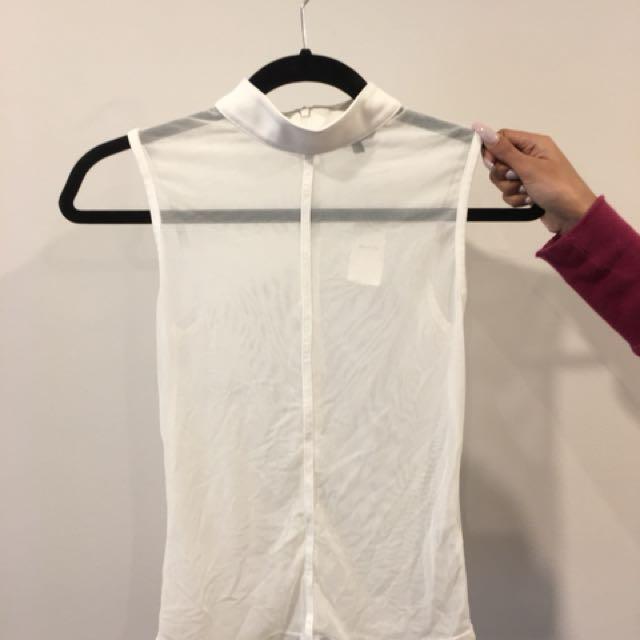 Mesh White Sleeveless Top | Size XS