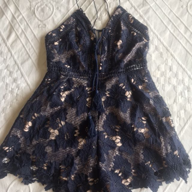 Navy floral playsuit