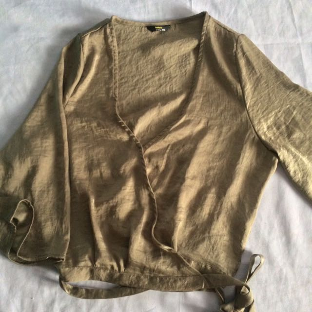 Olive green wrap top